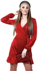 Ax Paris Burgundy Satin Wrap Dress