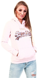 Superdry Shell Pink Marl Vintage Logo Sequin Outline Hoodie