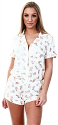 Chelsea Peers Cream Foil Pineapple Short Pj Set