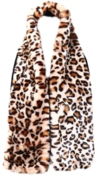 Impulse Leopard Print Faux Fur Scarf