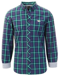 Le Shark June Bug Green Halton Checked Cotton Long Sleeve Shirt
