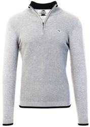Le Shark Mid Grey Marl Half Zip Knit Jumper