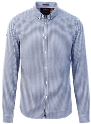 Superdry Navy Basket Gingham Classic London Long Sleeved Shirt