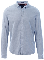Superdry Navy Basket Hounsdtooth Premium Button Down Long Sleeve Shirt