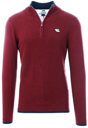 Le Shark Burgundy Half Zip Knit Jumper