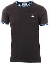 Le Shark Black Oldershaw Cotton Jersey T-Shirt With Racer Stripe
