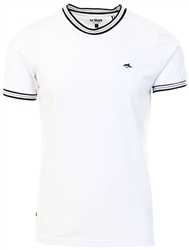 Le Shark White Oldershaw Cotton Jersey T-Shirt With Racer Stripe