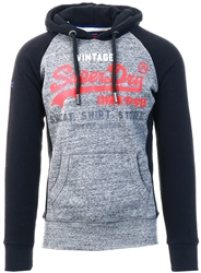 Superdry Flint Grey Grit Sweat Shirt Store Raglan Hoodie
