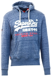 Superdry Pacific Blue Heather Premium Goods Tri Infill Hoodie