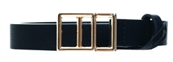 Pieces Gold/Black Double Square Buckle Belt