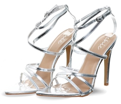 No Doubt Silver Patent Open Toe Strappy Heels