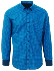 Ben Sherman Blue Long Sleeve Gingham Shirt