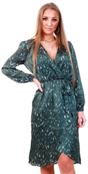 Ax Paris Green Printed V-Neck Wrap Dress