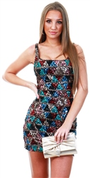 Club L Multi Aztec Sequin Square Neck Mini Dress