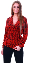 Ax Paris Red Snake Printed Pattern Wrap Top
