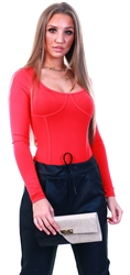 Noisy May Hibiscus / Red Long Sleeve Bodysuit