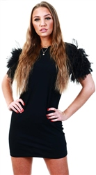 Parisian Black Mesh Frill Sleeve Round Neck T Shirt Dress