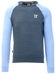 11degrees Deep Water Blue/Baby Blue Marl Contrast Sleeve Sweatshirt