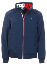 Black Iris Navy Essential Concealed Hood Jacket by Tommy Jeans