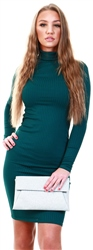 Parisian Teal Rib Knit Turtle Neck Long Sleeve Bodycon Midi Dres
