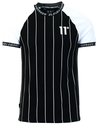 11degrees Black Raglan Vertical Stripe T-Shirt