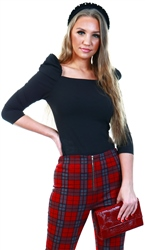 Parisian Black Puff Sleeve Square Neck Long Sleeve Top