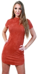 Ax Paris Rust Faux Suede Mini Dress With High Neck