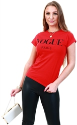 Missi Lond Red Vogue Print Short Sleeve T-Shirt