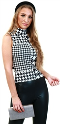Urban Bliss Black Houndstooth High Neck Sleeveless Top