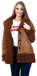 Only Cognac / Brown Faux Suede Bonded Jacket