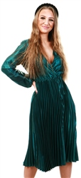 Ax Paris Teal Wrap Pleated Satin Dress