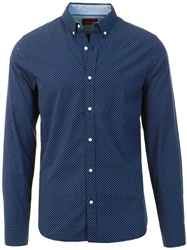 Superdry Navy Aop Classic London Long Sleeved Shirt