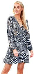 Ax Paris Animal Print Wrap Frill Dress