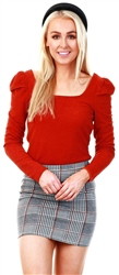 Veromoda Cinnamon Stick / Red Square Puff Sleeve Top