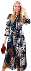 Pieces Blue / Night Sky Animal-Print Midi Dress