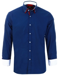 Silvio Valentin Navy Long Sleeve Button Shirt