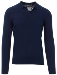 Brave Soul Navy Half Button Up Knit Jumper