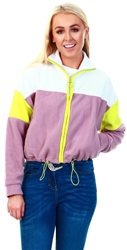 Brave Soul White / Pink / Neon Zip Up Fleece