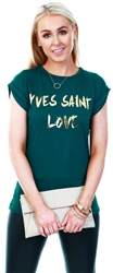 Parisian Green Slogan Print Short Sleeve T-Shirt