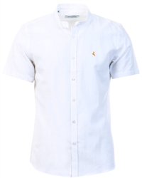 Ottomoda White Short Sleeve Granda Collar Shirt