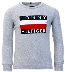 Tommy Jeans Grey Essential Long Sleeve Flag T-Shirt