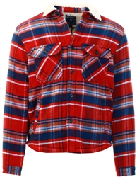 Tokyo Laundry Red Ochre Retford Borg Lined Checked Brush Flannel Overshirt