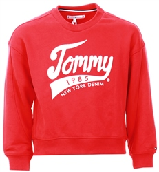 Tommy Jeans Racing Red 1985 Logo Fleece Sweatshirt