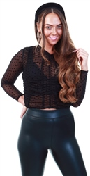 Black Mesh Ruched Polka Dot Top by Urban Bliss