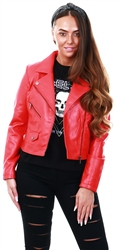 Only Red / High Risk Red Leather Look Jacket