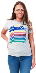 Grey Marl Logo Repeat Rainbow Entry Tee by Superdry