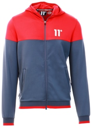 11degrees Anthracite/Ski Patrol Red Ribbed Full Zip Poly Track Top With Hood