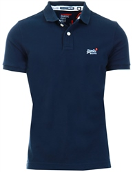 Superdry Navy Classic Pique Short Sleeve Polo Shirt