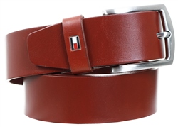 Tommy Jeans Dark Tan Buckle Leather Gift Box Belt