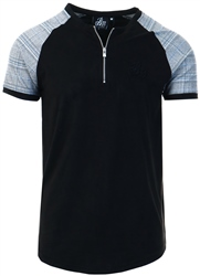 Black /Checked Suede Tee by Bee Inspired
